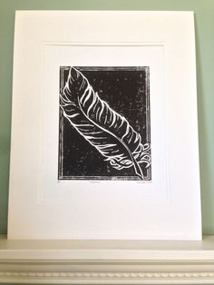 """Limited edition """"Insieme"""" feather fine art linocut print 8x10"""" (one of 100). Archival ink on cotton paper, with mat."""