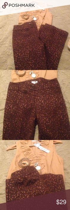 """Brown and gold dressy stitched pattern pants sz 4 These super rich patterned pants have a stitched filegris pattern with a copper satin background, 30"""" inseam but have a 2"""" hem that could be easily let out.  Excellent condition Harold's Pants Trousers"""