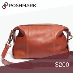 """sale   madewell • mini glasgow crossbody NWT • go-anywhere bag in a new smaller size (that holds a surprising amount of stuff) • made of supersoft leather, this duffel-inspired design has a sturdy removable shoulder strap • zip closure • 21 7/10"""" shoulder strap •  6 3/5""""H x 9 1/2""""W x 4""""D • please note: as it is made of a natural material, each bag varies slightly in texture and color • first two stock photos • no trades • 009000 Madewell Bags Crossbody Bags"""