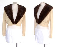 50s Cashmere Sweater Mink Collar Vintage Cream S to M Free Domestic and Discounted International Shipping