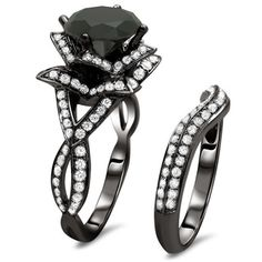 14k Black Gold 3 3/5ct Certified Black Round Diamond Lotus Flower Ring Set | Overstock.com Shopping - Top Rated Diamond Rings