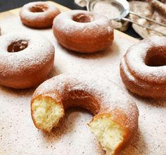 Cinnamon Sugar Sourdough Doughnuts - Sourdough gives these donuts an extra depth of flavor and balances with the baking powder for a texture that is somewhere between cake donuts and yeast ones Sourdough Doughnut Recipe, Sourdough Recipes, Sourdough Bread, Bread Recipes, Cooking Recipes, Starter Recipes, Amish Recipes, Baked Donuts, Doughnuts