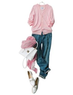 Jeans + Pink & White