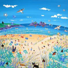 Sea Holly and Skylarks, Holywell Bay, Cornwall. Limited Edition Print by Cornish Artist John Dyer