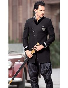 This Ethnic look breeches coat is imported fabric designed in black color, our coat is specialist will make it best fit on you to make you center attraction.