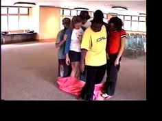 Magic Carpet team building game. I like Round 2; teaches collaboration and thinking outside of the box.