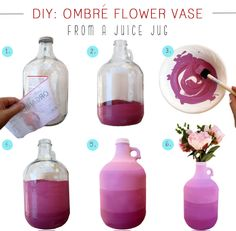I chose an oversized juice bottle to create my ombrè flower vase, because I just love its big round bottom and tiny handle at the top! But you can use anything from wine bottles, soda cans or even milk cartons, so look around the house for anything that has a flattering shape.    Follow the steps below to make your own custom vase that will be sure to add a lovely handmade touch to your home.