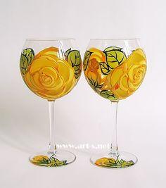 Set of 2 Hand Painted Wine Glasses Yellow by HandPaintedGlassArtS