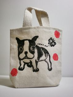 Hey, I found this really awesome Etsy listing at https://www.etsy.com/listing/153876225/boston-terrier-canvas-tote-bag-tiny-but