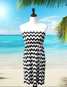 Strapless Chevron Dress, Sundress, Beach Dress Cover Up.  The perfect chevron dress for summer!