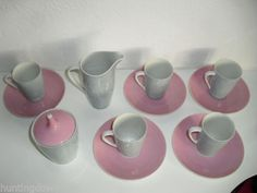 Cmielow Pink Porcelain Cups,Saucers,Jug and Pot with Lid 1960's