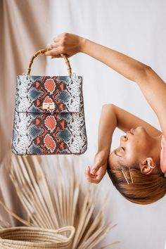 The Alexandra bag is born to stand out and make a statement. With the classic shapes, it is a timeless design, introduced in a striking colourful python print for the daring customer. Designer Leather Handbags, Python Print, Slow Fashion, Other Accessories, Timeless Design, Leather Wallet, Shapes, Classic, Floral