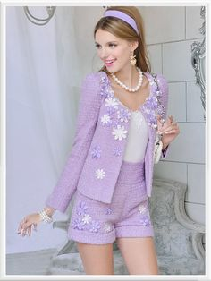 Purple Knit Long Sleeve Ruffle Hem Floral Jacket Suit 2 Pieces - Morpheus Boutique