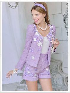 Purple Knit Long Sleeve Ruffle Hem Floral Jacket Suit 2 Pieces - Morpheus Boutique