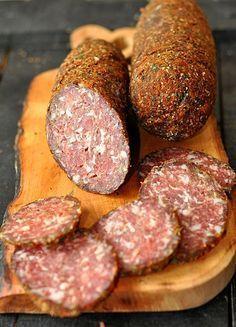 kiełbasa mielonka Homemade Jerky, Homemade Sausage Recipes, Pork Recipes, Home Made Sausage, Meat Sandwich, Kielbasa, Polish Recipes, Smoking Meat, Protein Foods