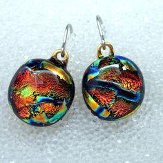 Dichroic Fused Glass Earrings in Fiery Tangerine Tango by HSokol, $16.00