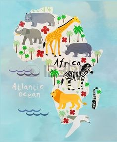 Africa Cartoon Animal Map Royalty Free Cliparts, Vectors, And . Africa Drawing, Africa Painting, Continents Activities, Preschool Activities, Children Activities, South Africa Facts, Childrens Wall Murals, Easy Animal Drawings, Geography For Kids