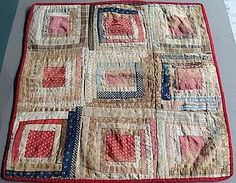 19th C Log Cabin Doll Quilt.