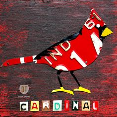 Indiana Cardinal License Plate Art - State Bird