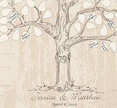 Gast boek ideeën bruiloft boom gastenboek van fancyprints op Etsy