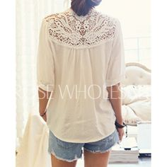 Wholesale Lace Splicing Crochet Flower 1/2 Sleeve Casual Blouse For Women (WHITE,ONE SIZE), Blouses - Rosewholesale.com