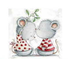 Awwww :) Very cute and romantic mice illustration. Illustration Noel, Christmas Illustration, Illustrations, Christmas Pictures, Christmas Art, Vintage Christmas, Xmas, Cute Images, Cute Pictures
