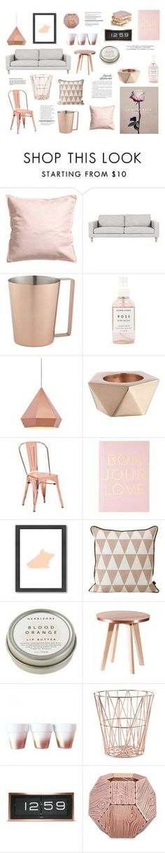 """""""Rose & rose gold"""" by rheeee ❤ liked on Polyvore featuring interior, interiors, interior design, home, home decor, interior decorating, H&M, CB2, Herbivore Botanicals and Zuo"""