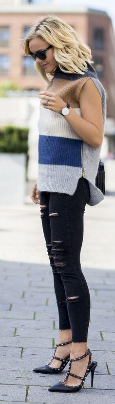 Caroline Berg Eriksen Striped Sleeveless Sweater Black Ripped Skinnies Black Rockstuds