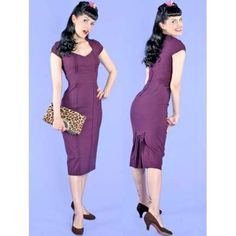 Stop Staring! Plum wiggle dress with kick pleat Gorgeous Stop Staring! 1940's style wiggle dress. Fits more like a large than an XL. The deep plum purple color is super flattering. Just dry cleaned and in perfect condition. Stop Staring! Dresses Midi