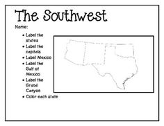Usa regional maps coloring pictures and color activities southwest mapping activity sciox Choice Image