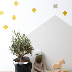 Wallsticker Cross-Okergeel - Bibelotte - Wanddecoratie