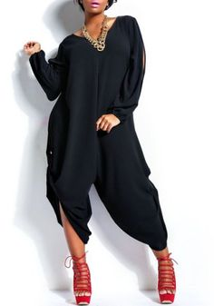 V-Neck Long Sleeve Cut Out Jumpsuit