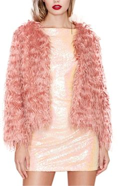 $32, Pink Fur Jacket: ChicNova Pink Faux Fur Coat. Sold by ChicNova. Click for more info: https://lookastic.com/women/shop_items/175850/redirect