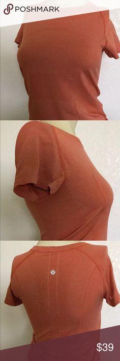 Lululemon Swiftly Tech SS Orange Shirt Size 6 Women's Lululemon Swiftly Tech SS Crew Stripe Orange Shirt Size 6 lululemon athletica Tops Tees - Long Sleeve