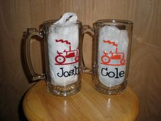 Tractor Personalized Beer Mug by scrapsoflovebyjen on Etsy, $7.00