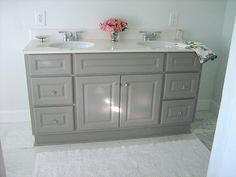 LOVE this grey vanity by Ten June! I might have to consider this for our guest bathroom... hmm...