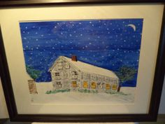 Snowy New England Ink & Watercolor Painting #Art #Sale