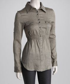 Take a look at this Gray Button-Up Shirred Waist Top - Women by Jazzy Martini on #zulily today!