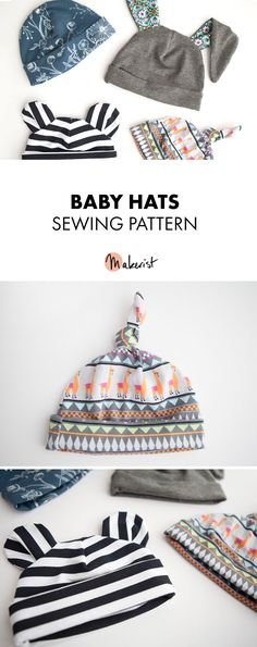 Adorable sewing pattern with several styles for a babies hat! Via Makerist.com!