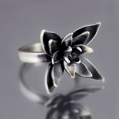 Oxidized Flower Blossom Ring