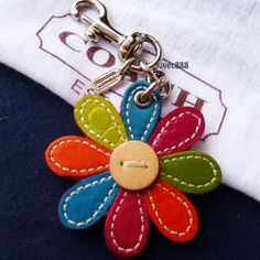 NEW COACH MULTI COLOR FLOWER CHARM KEY FOB KEY CHAIN #Coach