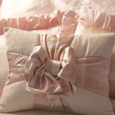 Pink Plaid Dupioni Silk Gift Bow Decorative Pillow : Baby Bedding Accessories at PoshTots