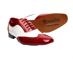 Mens Red And White Borsalino Leather Lined Patent Formal Wedding Shoes UK 6-12