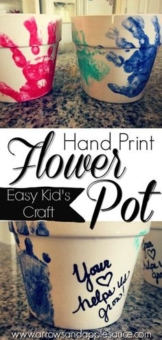 These fun hand print flower pots are easy to make with your kids, and make the perfect Mother's Day gifts. They are sure to become beloved keepsakes. DIY Hand Print Flower Pots - Arrows & Applesauce Be Diy Mother's Day Crafts, Mother's Day Diy, Baby Crafts, Kids Crafts, Baby Handprint Crafts, Mothers Day Flower Pot, Mothers Day Crafts For Kids, Diy Mothers Day Gifts, Gifts For Nana