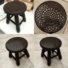 The dark color really caught my eye on this project. Mosaic Diy, Mosaic Crafts, Mosaic Projects, Mosaic Glass, Mosaic Tiles, Mosaic Furniture, Painted Furniture, Mosaic Patterns, Tile Art