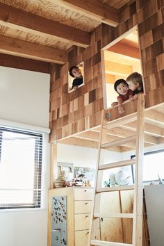 Kids Room, Storage, Bedroom Room Type, Playroom Room Type, and Bunks Taku designed a shingled playhouse/bunkbed.  Photo 11 of 17 in Explore the Japanese-Style Home of Two L.A. Tastemakers