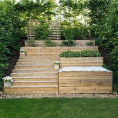 Take your patio layout design to the next level with our list of favorite ideas. Whether it is large patios, or fire pits you will find everything you need Backyard Ideas For Small Yards, Sloped Backyard, Sloped Garden, Backyard For Kids, Backyard Landscaping, Landscaping Ideas, Garden Beds, Casa Patio, Patio Layout