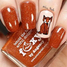 WEBSTA @ vics_nails - Cute little fox nails! I was inspired by this adorable Foxy polish by @picturepolish and paired it with a geometric fox design using Creative Shop stamping plate 77! I got both Foxy and the stamping plate from @color4nails I also used Cashmere and Linen from @livelovepolish ❤️Top coat is Quick Dry Topcoat from @livelovepolish. Black stamping polish is Onyx from @color4nails ✨✨