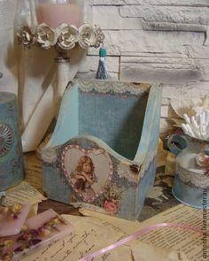 Набор `Elegant vintage `. набор для туалетного столика или ванной комнаты-    короб для расчесок, кремов и баночек, и маленький бидончик для косметических принадлежностей или для маленького букетика сухоцветов   …