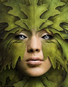 The Green Woman by Lunaya-Wolf Mother Nature Tattoos, Nature Spirits, Creature Concept, Green Man, Woman Painting, Faeries, Beautiful Creatures, Female Art, Fantasy Art